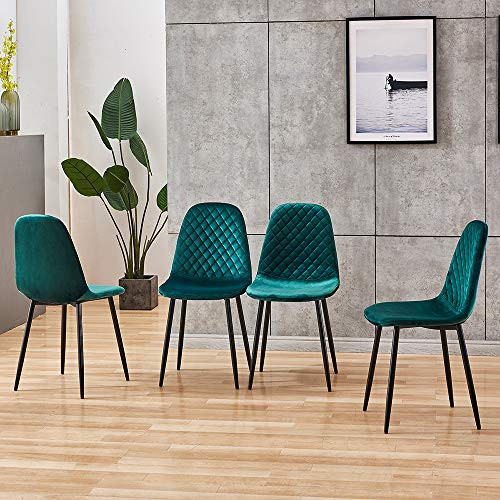 BOJU Occasional Green Velvet Dining Chairs Set of 4 for Kitchen Restaurant Modern Office Reception Chairs for Lounge Party Velvet Upholstered Padded Chairs with Black Metal Legs