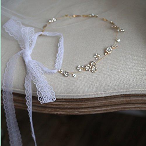 Handgemaakte bruidshaar accessoires stukken haar kam pinnen haarband 3D Bloem Kristallen en Hand Geschilderd Zilver-Gouden Bladeren Hoofdband met kant lint DHE02