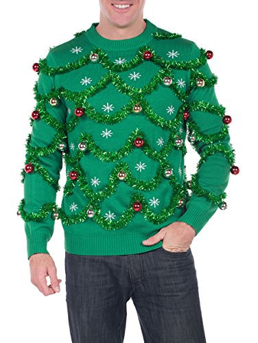 Tipsy Elves Men's Gaudy Garland Sweater - Green Tacky Christmas Sweater with Ornaments: X-Large