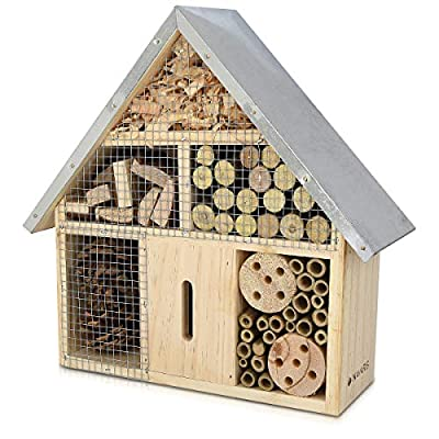 Navaris M Wooden Insect Hotel - 24.5 x 28 x 7.5 cm - Natural Wood Insect House - Garden Shelter Bamboo Nesting Habitat - For Bees Butterflies Ladybugs by KW-Commerce