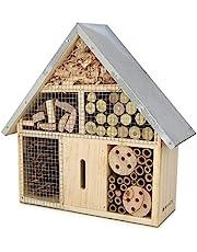 Navaris Hotel de Insectos Madera M - observatorio de Insectos 24,5 x 28 x 7,5cm - casa Natural con Cubierta metálica y Gancho para Diferentes bichos