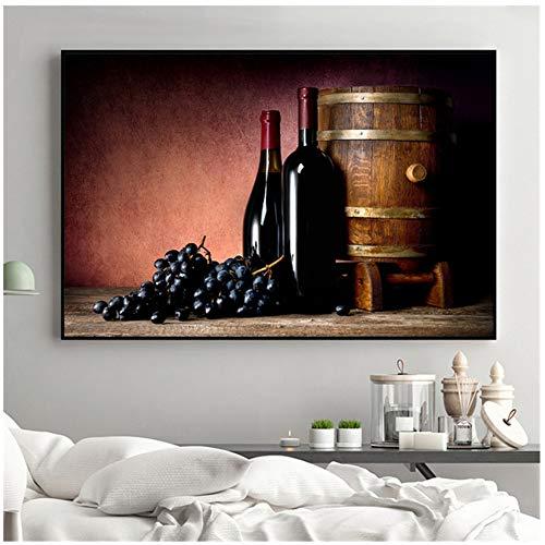 NIESHUIJING Druck auf Leinwand Weinmalerei Saft Traube Weingläser Getränke Bierfass Küchendekor Champagner Wohnzimmerdekoration 60 x 90 cm (23,6 x 35,4 Zoll) Kein Rahmen4