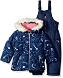 Carter's Girls' Little 2-Piece Heavyweight Printed Snowsuit, Navy Star, 5/6