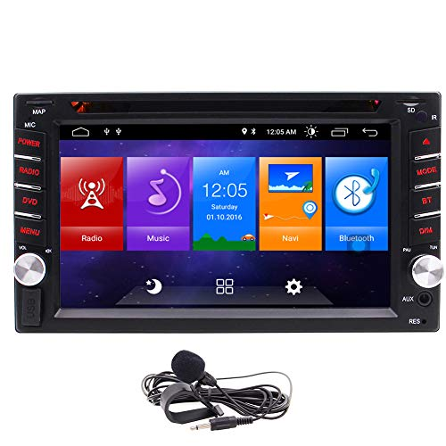 auto radio with dvd cds Android 2 Din Car Stereo CD DVD Player with GPS and Bluetooth Double Din indash Autoradio Head Unit FM/AM Radio Navigation Receiver Support Mirror Link Hand-Free WiFi + External Micrphone
