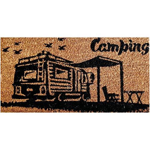 Bestlivings Felpudo de fibra de coco (25 x 50 cm, parte inferior de PVC), diseño de camping