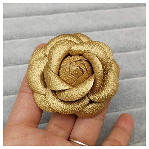 JIWEIER Neue koreanische handgemachte PU-Leder-Kamelie-Blumen-Broschen for Frauen Big Black White Brosche Mädchen-Geschenk Bekleidung Accessoires Broschen für Frauen (Size : Z)