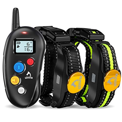 PATPET Dog Training Collar - 2 Receiver Rechargeable IPX7 Waterproof Shock Collar with Remote - 3 Training Modes, Beep, Vibration and Shock Perfect for Small Medium Large Dogs