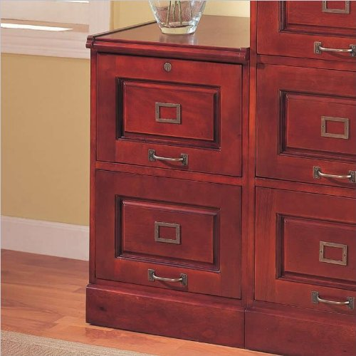 Coaster Home Furnishings Legal/Letter File Filing Cabinet with Lock, 2-Drawer, Cherry Finish