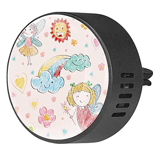 2 paquetes de difusor de coche con ambientadores de clip,Cloud Sun Angel ,Aceite esencial de aromaterapia portátil para dormitorio