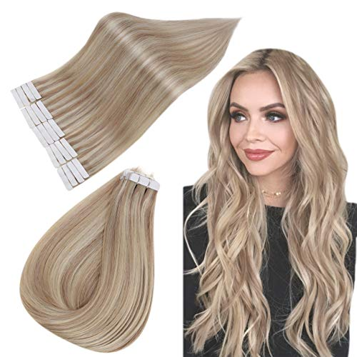 Easyouth Echthaar Extensions Ombre Tape in 12zoll 30g Aschblondes Highlight mit Hellblond Ersatztapes für Tape Extensions Echthaar Tape Extensions Ombre