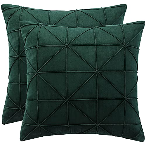 sourcing map Throw Pillow Cover Soft Velvet Solid Color Modern Decorative Throw Pillow Case Square Cushion Covers for Car Sofa Bed Couch, Dark Green 2Pcs,18