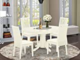 East West Furniture AVIP5-LWH-C 5Pc Set Includes an Oval Dinette Table with Butterfly Leaf and Four FabricSeat Dining Chairs, Linen White Finish