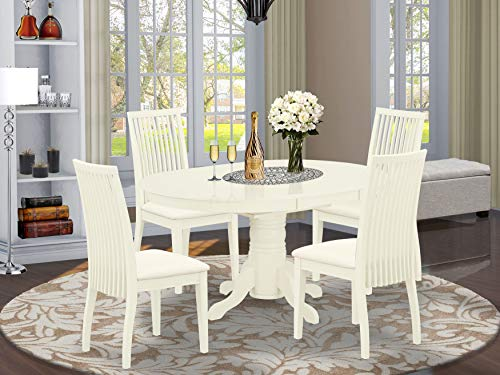 East West Furniture AVIP5-LWH-C 5Pc Set Includes an Oval Dinette Table with Butterfly Leaf and Four Microfiber Seat Dining Chairs, Linen White Finish