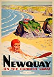 OMG Printing Vintage Newquay, Cornwall Reise-Poster, A4