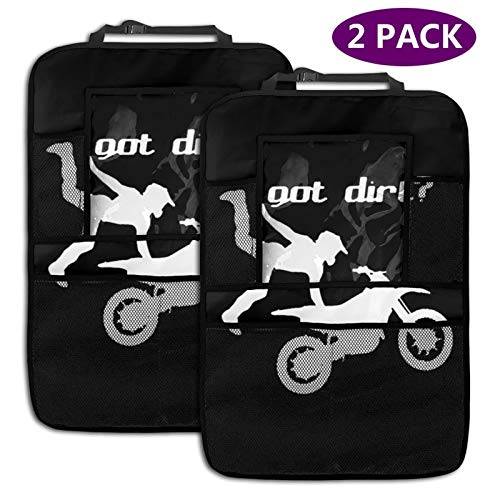 Got Dirt Bike Motocross Racing Car Backseat Organizer 2 Pack, Car Seat Back Protectors with 9.5' Tablet Holder & 3 Storage Pockets for Toys Drink Tissue Snacks, Car Accessories for Kids & Toddlers