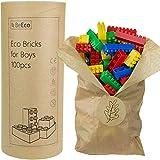 BeEco Bausteine für Jungs 100 Stück | Öko Bauklötze mit Allen Zulassungen | In Einer Pappröhre | 100% Recyclebar | Für Kinder ab 3 Jahren