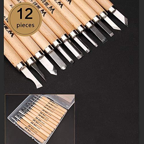 Yiwa 1 set houten sculptuur beitel snijmes houten beitel knutselen handgereedschap 12 stuks/doos