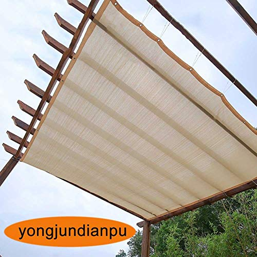 Home Pergola Shade Cover Sunblock Patio Canopy, Beige Rectangle HDPE Permeable Cloth With Grommets, 90% Sunblock & UV Resistant (Size : 2Mx2M)