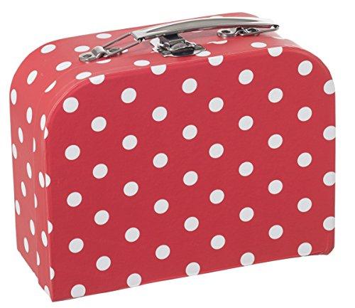 Bieco Kinderkoffer mit Punkten in Rot | Gefüllt mit Kleinen Überraschungen | Spielzeugkoffer aus Pappe, Metallgriffe | Pappkoffer Kinder | Reisekoffer Kinder | Gutschein Verpackung | Koffer Karton