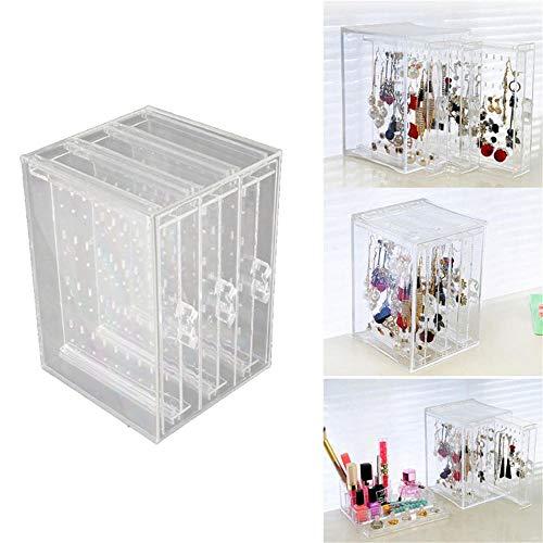BEI&YANG Pendientes Acrílicos Marco Pendientes Transparentes A Prueba De Polvo Caja De Almacenamiento En Rack con Cajón Vertical