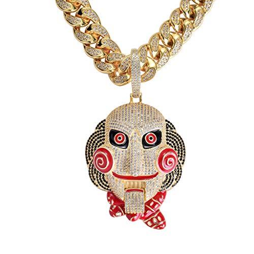 MoCa Jewelry Hip Hop Iced Out Bling 6ix9ine Kette Clown 69 Tekashi69 Medaillon Weißgold vergoldet großer Anhänger Säge Billy inspirierte Halskette (Gold wirh 61 cm kubanische Kette)