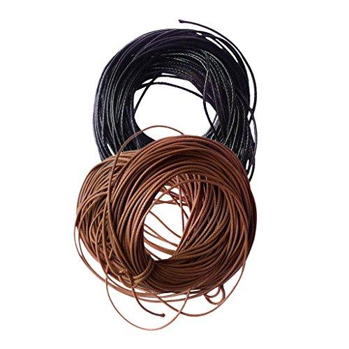 Bonarty 2 Unids/Set de 10 Metros de Cuerda de Nailon Encerado, Accesorios para Hacer Joyas para Bricolaje, Collar, Pulsera, Cuentas, 1mm, Café Negro