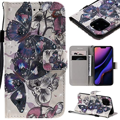 MOLIBAIHUO For IPhone 11 Pro Case, 3D Painted Pattern Horizontal Flip Leather Case for IPhone 11 Pro, With Wallet & Holder & Card Slots & Lanyard PHONE CASE (Pattern : Black butterfly)