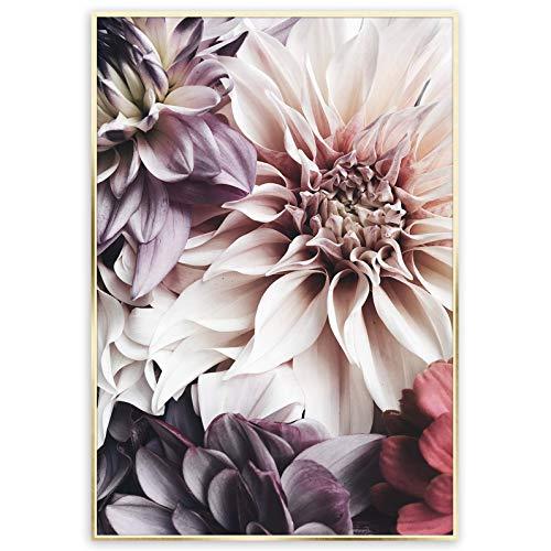 Rahmenbild Flowers   Holz Goldrahmen Optik   Artbox Wandbild   Bild Kunst vintage   Blumen Blätter Farben Blumenstrauß   Wohnzimmer Schlafzimmer Kinderzimmer Büro   violett rosa gold   50x70 cm