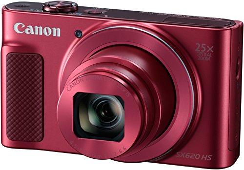 Canon PowerShot SX620 HS Digitalkamera (20,2 MP, 25-fach optischer Zoom, 50-fach ZoomPlus, 7,5cm (3 Zoll) Display, CMOS-Sensor; DIGIC4+, optischer Bildstabilisator, WLAN, NFC, HDMI) Kamera, rot