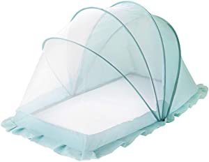 LZWH Bottomless universal foldable crib mosquito cover foldable storage  space blue size 110 55cm Blue