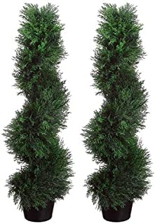 TWO Pre-potted 3' Spiral Pond Cypress Artificial Topiary Trees