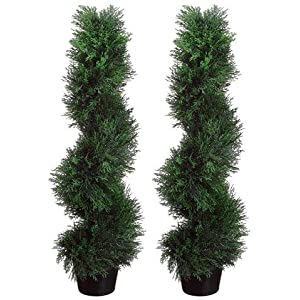Arcadia Silk Plantation Two Pre-Potted 3′ Spiral Pond Cypress Artificial Outdoor Indoor Topiary Trees