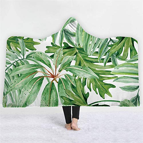 Grea Plants Flamingo Gedruckt Mit Kapuze Decke Warme Tragbare Fleece Frau Weiche Wurfdecke Sofa-24,127x152 cm