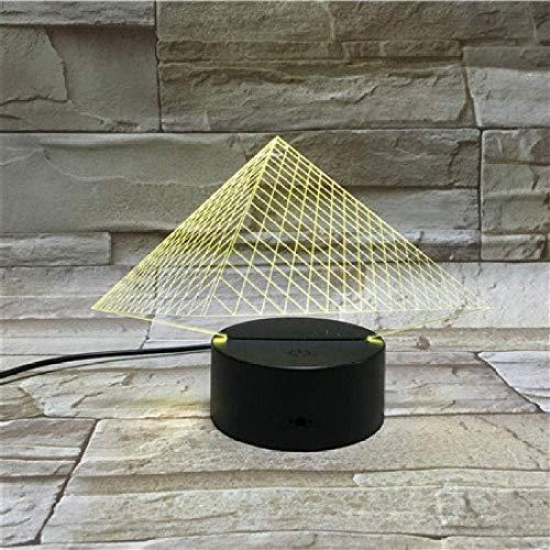 Lámpara De Ilusión 3D Luz De Noche Led Recargable Modelo De Pirámide Colorida Para Niños Con Juguetes O Regalos De Humor Oficina Con Control