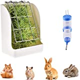 PINVNBY Bunny Hay Feeder Rabbit Cage Food Rack Bowl Manger with Hamster Water Bottle for Small Animal Supplies Chinchillas Guinea Pig 2 PCS (white)