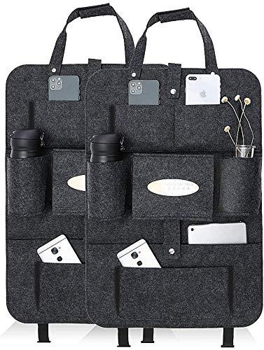 2 protectores de asiento de coche para niños, organizador de asiento de coche, bolsillo portaobjetos para coche