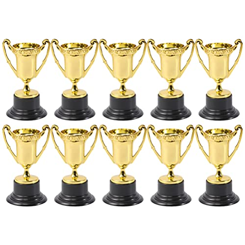 TOYANDONA 10pcs Mini Trophy Award Trophy Gold Cup Silver Trophies for Football Soccer Baseball Carnival Prize Party Favors