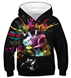 NEWISTAR Pull à Capuche Enfant 3D Imprimer Coloré animé Garçons Filles Casual Sweat-Shirts,Skull1,L(12-13Ans,Buste:96-116CM)