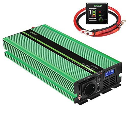 MOBILEKTRO Inversor de corriente sinusoidal pura (1000 W, 12 V a 230 V, MCI-12/1000, con cargador integrado de 20 A con función NVS y USV, convertidor incl. control remoto y pantalla LCD)