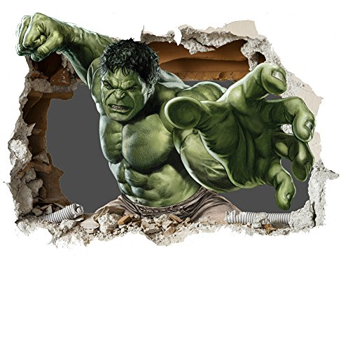 3D Hulk Smash Smashed Kinder-Lieblings-Charaktere Wandtattoo, Vinyl, Motiv: Wandkunst, Customise4UTM (700mm, New 3D Hulk Smash)