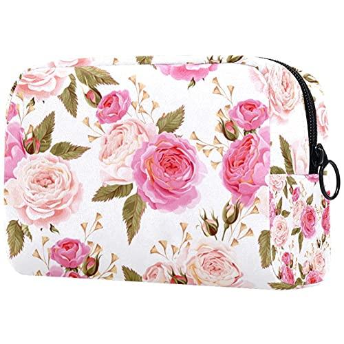 Bolsa de Maquillaje compacta Bolsas de cosméticos de Viaje portátiles para Mujeres niñas Neceser,patrón Floral Flor Rosa