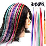 Paidian Lot 10 strands 20'' Long Solid Colorful I Tip Human Hair Extension,10+ FREE Micro Beads,Hook (MIXED)