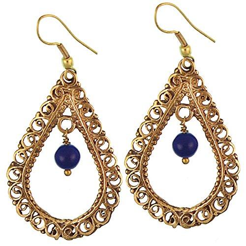 CHICNET oorbellen lapis lazuli kogel druppel slierten messing antiek goud nikkelvrij oorbellen tribal brass
