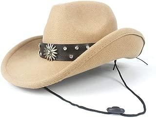 JAUROUXIYUJI New Women Men Wool Hollow Western Cowboy Hat for Gentleman Roll Up Brim Steampunk Sombrero Cap (Color : Beige, Size : 56-59cm)