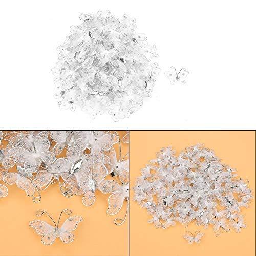 HEEPDD 100 Stks Vlinder Decoraties, Wired Mesh Voorraad Glitter Vlinders Kleding Decoratie Accessoires
