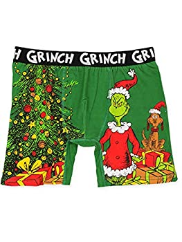 Dr Seuss The Grinch Men s Christmas Holiday Boxer Brief Underwear  Large Green