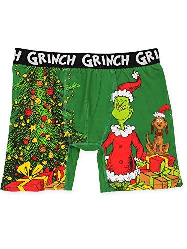 Dr. Seuss The Grinch Men's Christmas Holiday Boxer Brief Underwear (Medium, Green)
