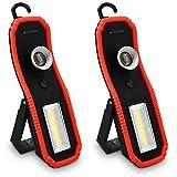Navaris 2X Lampada da Lavoro LED COB Portatile - Torcia Ricaricabile a batterie Clip Magnetica Gancio - Luce Emergenza ispezione Auto Garage Officina