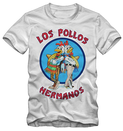 Bisura T-Shirt Breaking Bad Los Pollos Hermanos By (Uomo, Bianco)