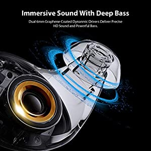 True Wireless Earbuds Bluetooth 5.0 Headphones, aptX Lossless CVC Dual Mic Noise Cancelling Clear Voice Call in-Ear Headset IPX7 Waterproof 40H Wireless Charging Case Sports Earphones (Black)